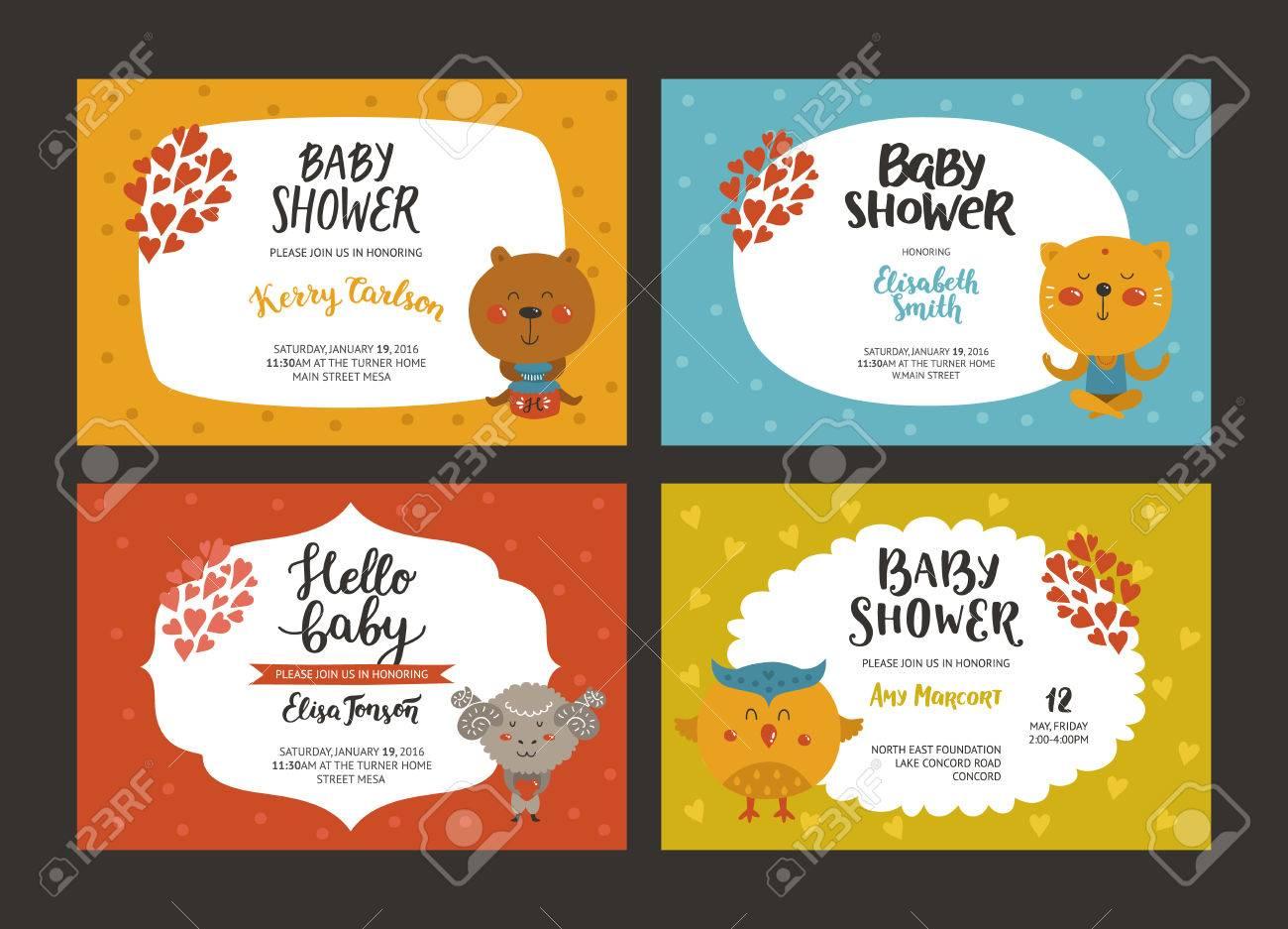 Baby-Dusche Mädchen Und Jungen Einladungen, Vektor-Vorlagen Mit ...