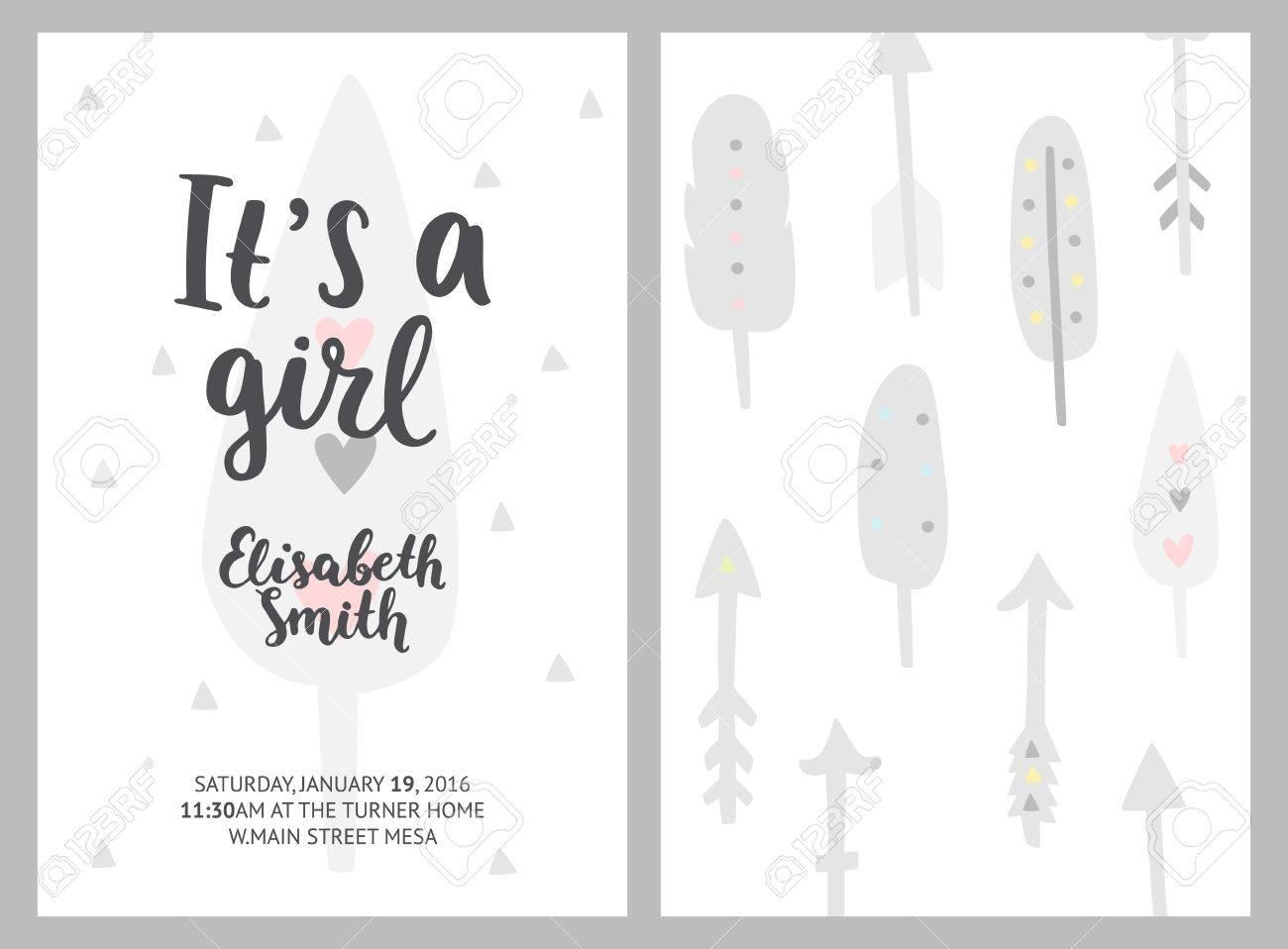 Baby-Dusche Mädchen Einladungen, Vektor-Vorlagen. Es Ist Ein Mädchen ...