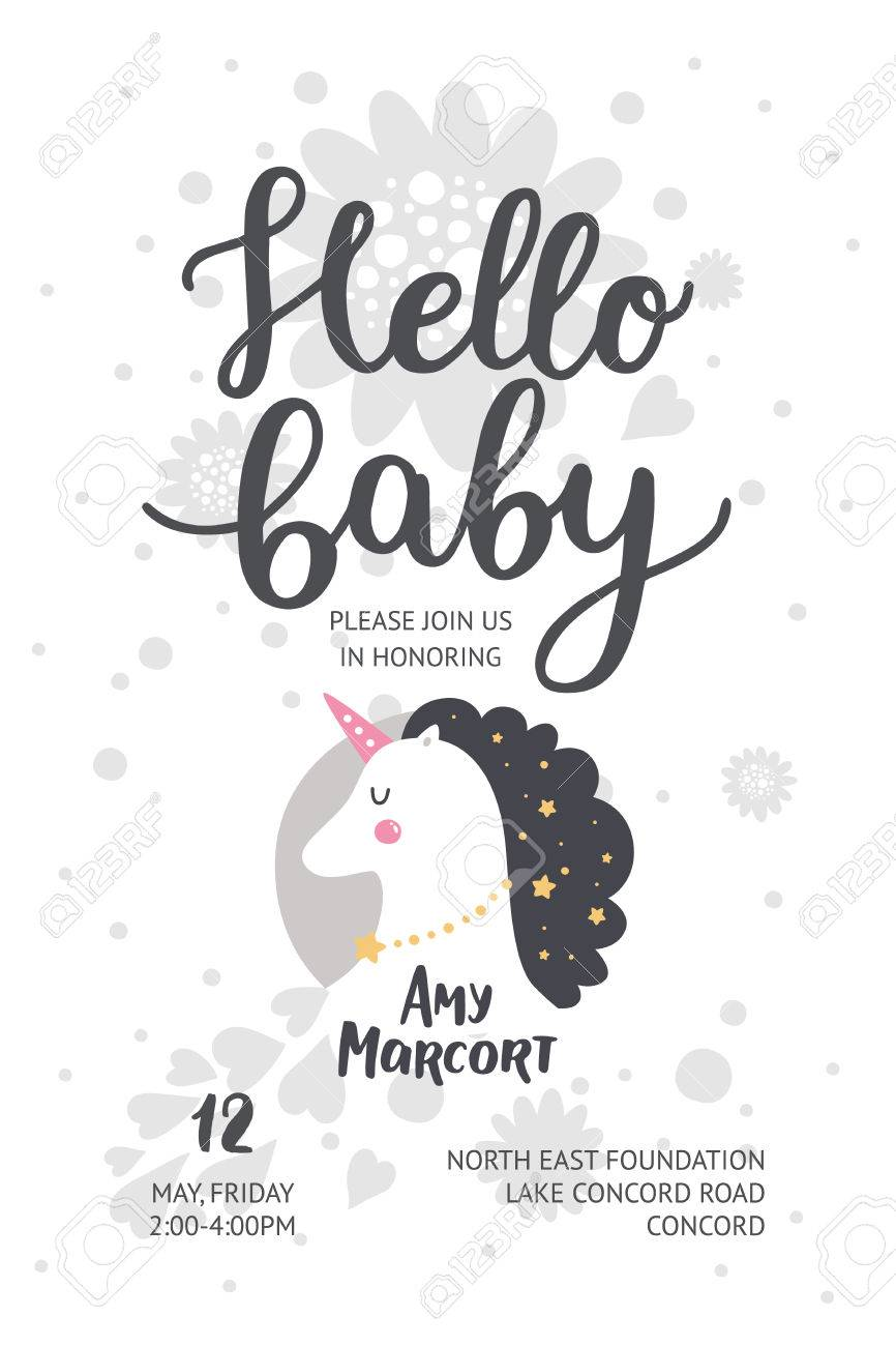 Baby shower poster vector invite baby shower card with cute baby shower poster vector invite baby shower card with cute unicorn and hand drawn filmwisefo