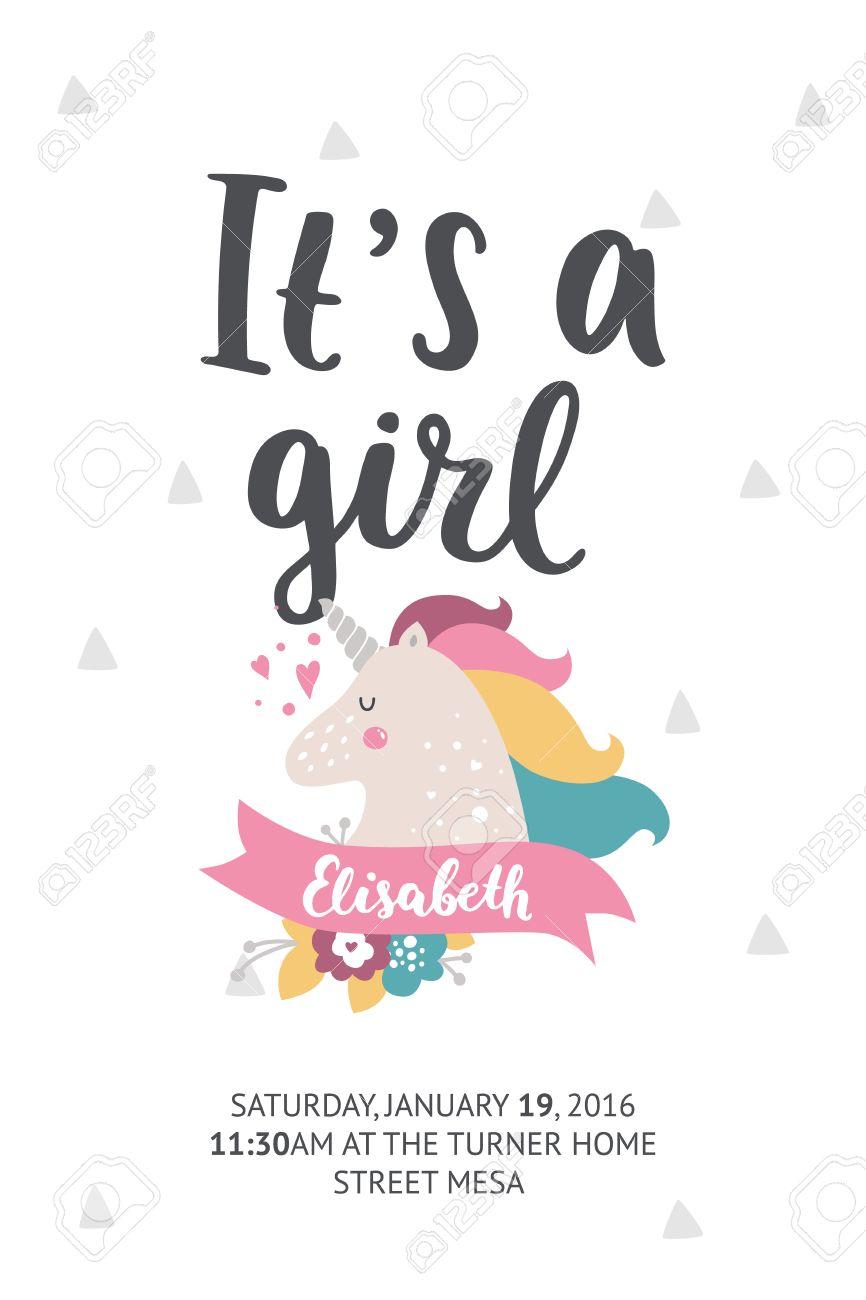 Bebé Poster Ducha Vector De Invitación Tarjeta De Baby Shower Con La Fuente Dibujado Mano Linda Unicornio Y En El Fondo Blanco Los Colores Pastel