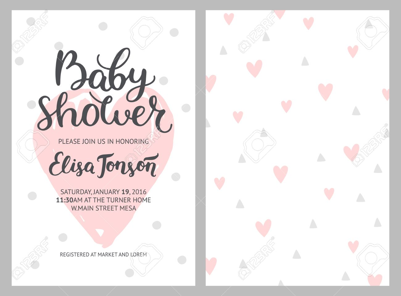 Baby Shower Girl And Boy Invitations, Vector Templates. Shower ...