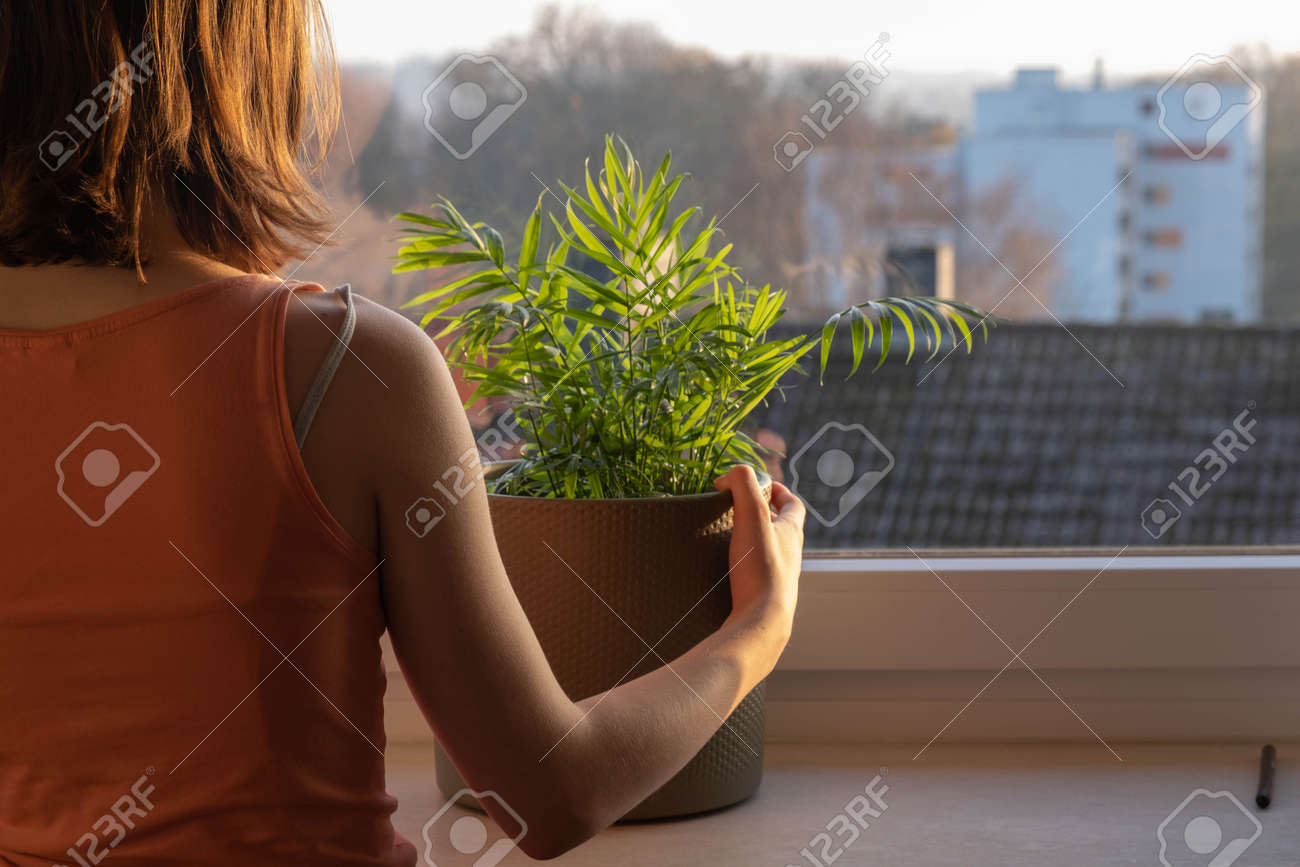 a young girl stands at the window in quarantine, misses walking - 158925443