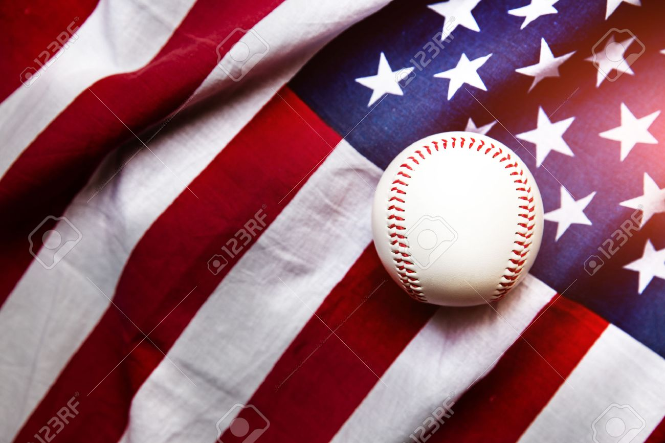 baseball with American flag in the background Stock Photo - 40560567 759b591a8c7