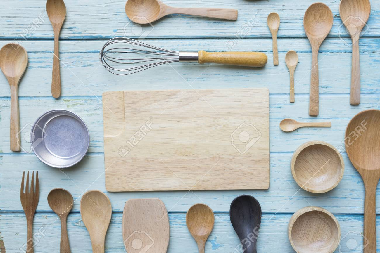 Various Kitchen Utensils On Wooden Table Background Stock Photo ...