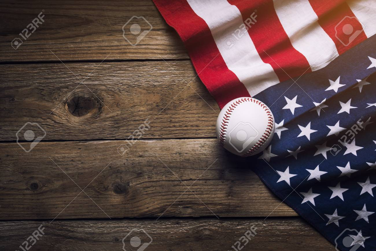 baseball with American flag in the background Stock Photo - 85286878 e0a06c95488