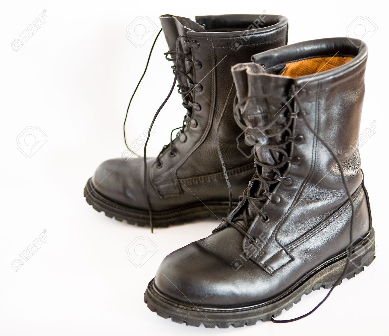 Dark brown leather military boots Stock Photo - 2600386 3df1cb00075
