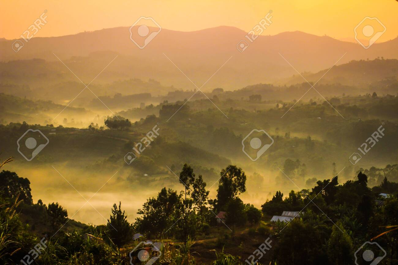 Gentle yellow light and light mist over the hills in country side with traditional houses and the tropical nature of Uganda on the border with the Congo at dawn - 124547612