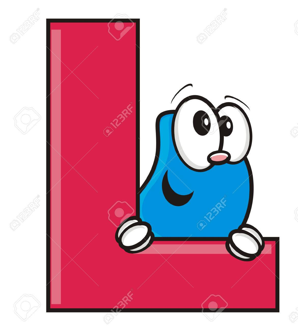 funny face peeping from behind the letter l stock photo picture and rh 123rf com letter l clipart free letter l words clipart