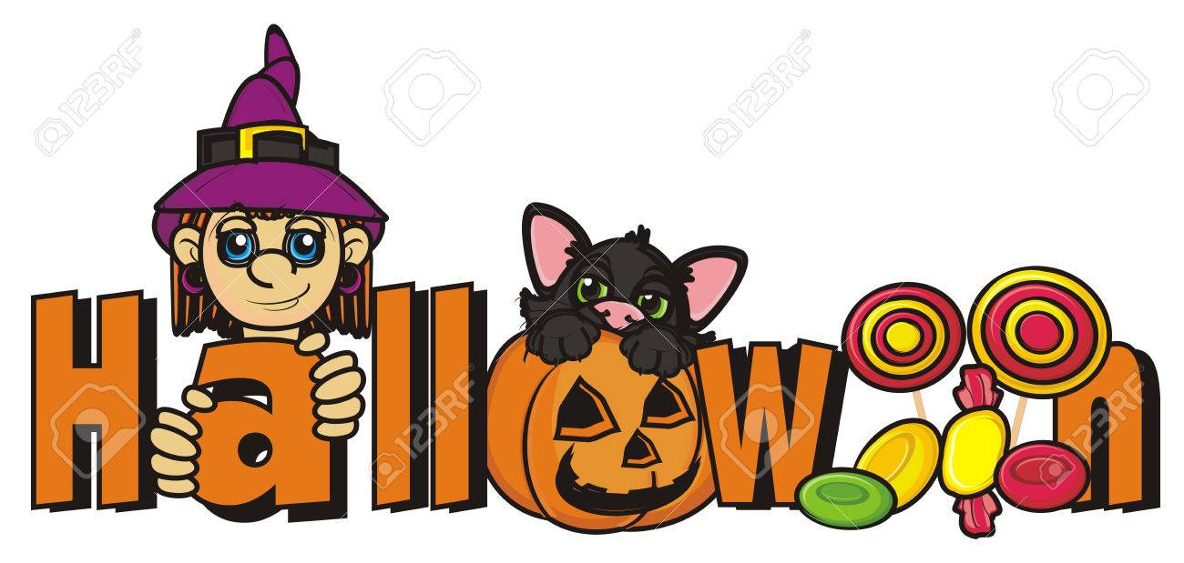 word halloween with witch black cat and many candy stock photo