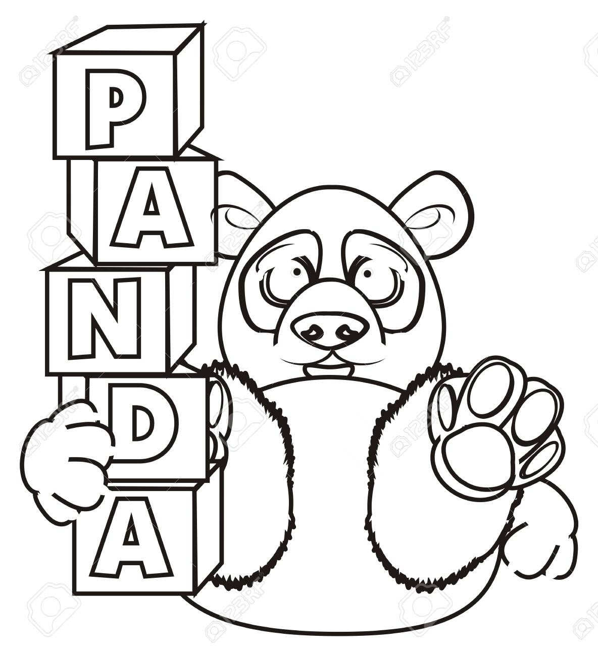 coloring panda hold a blocks with letter panda stock photo 62051230