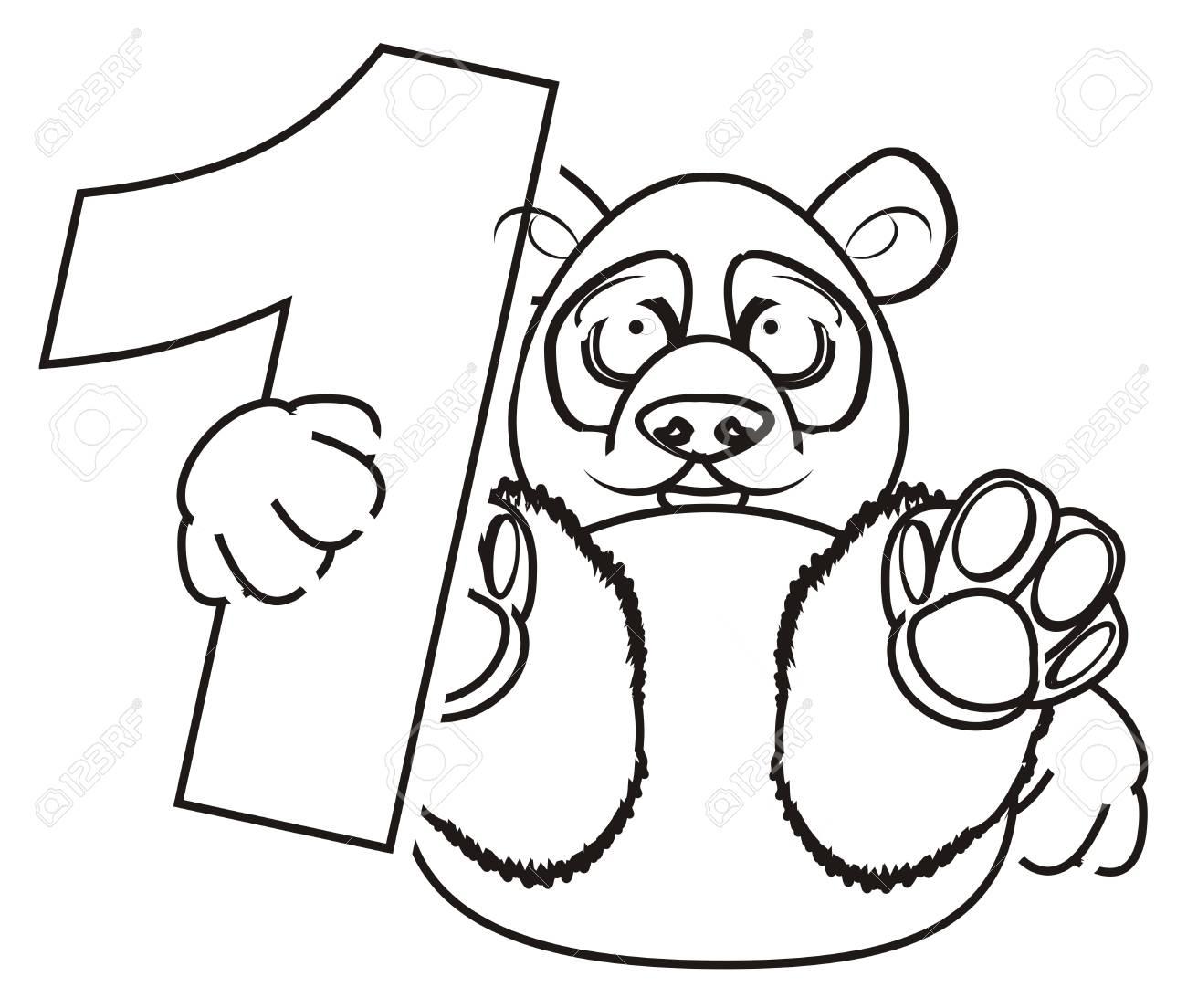 Panda Para Colorear Mantenga Un Número Uno