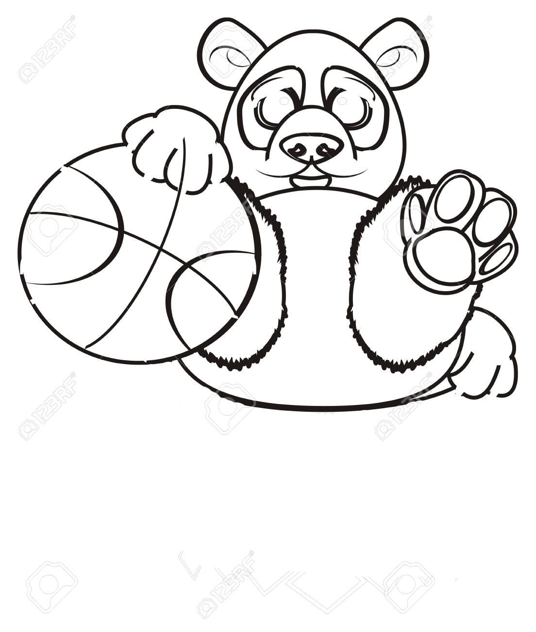 Panda A Colorier Tenir Un Grand Ballon De Basket Banque D Images Et Photos Libres De Droits Image 62051297