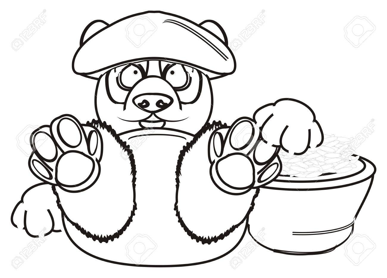 Coloring Panda In Hat Hold A Rice Stock Photo, Picture And Royalty ...