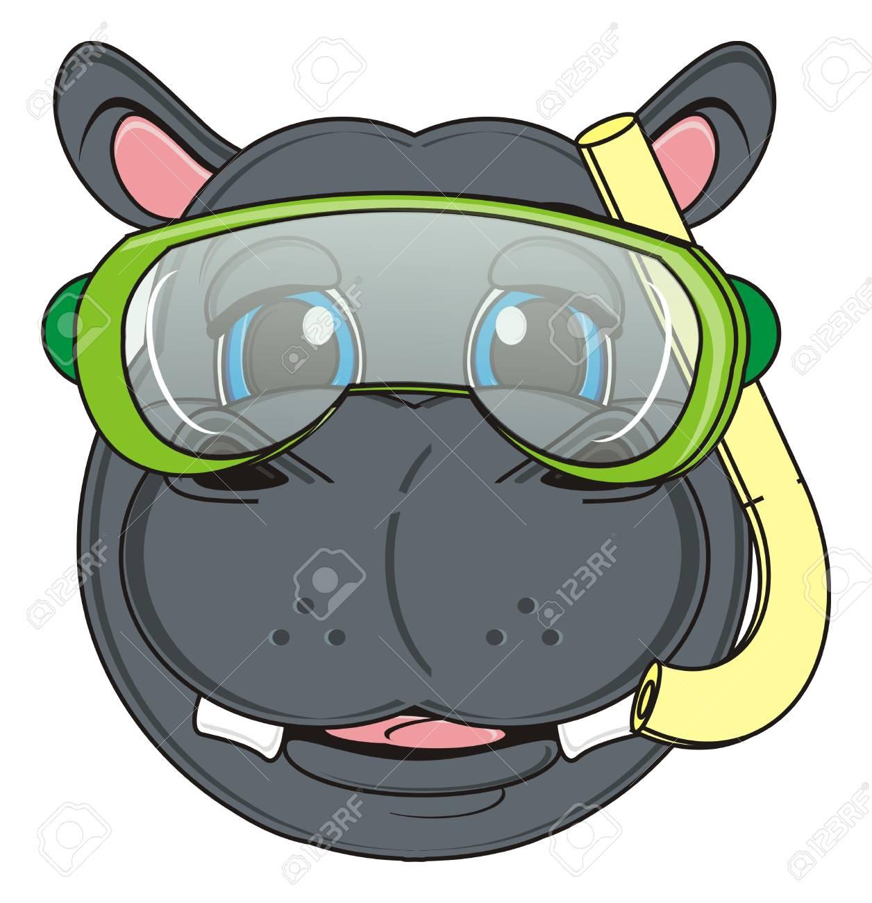 Museau Dhippopotame Au Masque De Plongée Banque Dimages Et Photos