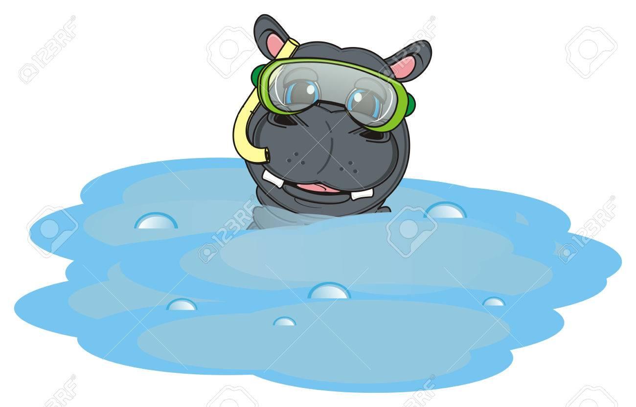 Museau Dhippopotame Dans Le Masque De Plongée Coup Doeil De Leau