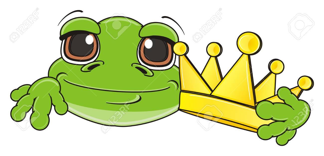 Grenouille Couronne museau de grenouille verte avec couronne dorée banque d'images et