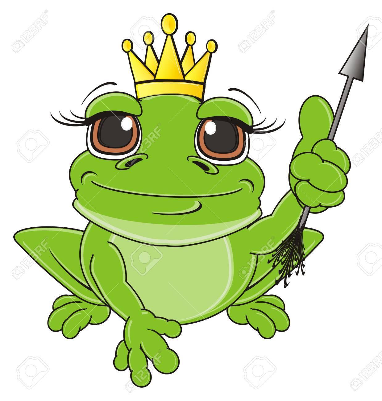 Grenouille Couronne grenouille dans la couronne asseoir avec flèche banque d'images et