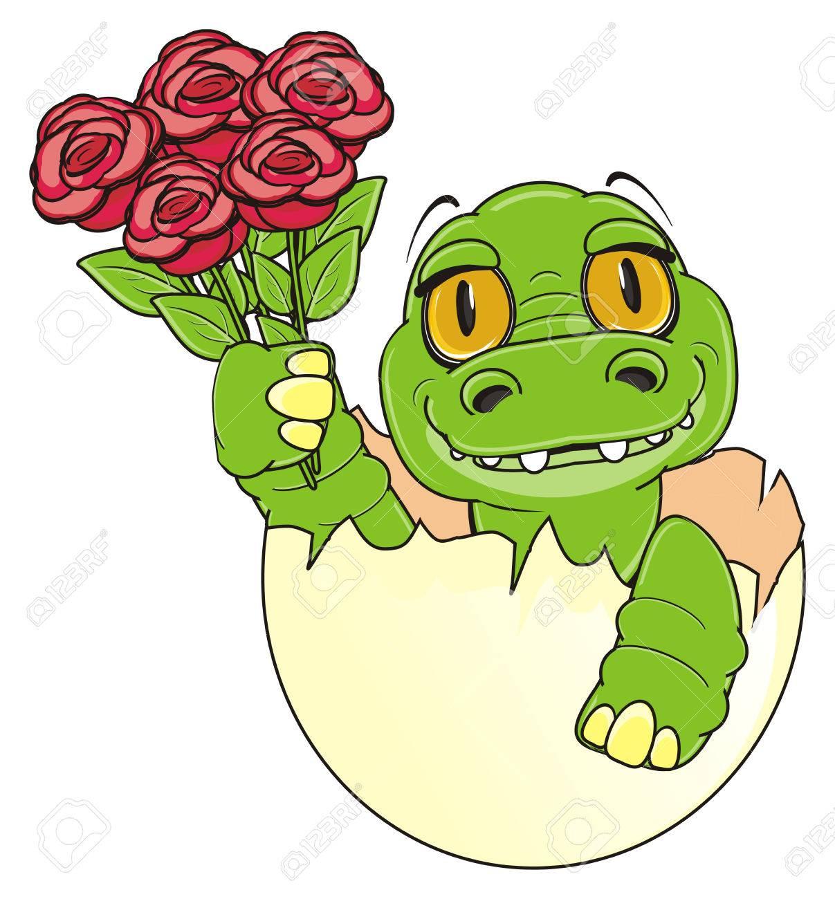 Pequeño Cocodrilo Se Sienta En El Huevo Y Mantenga Unas Rosas Rojas