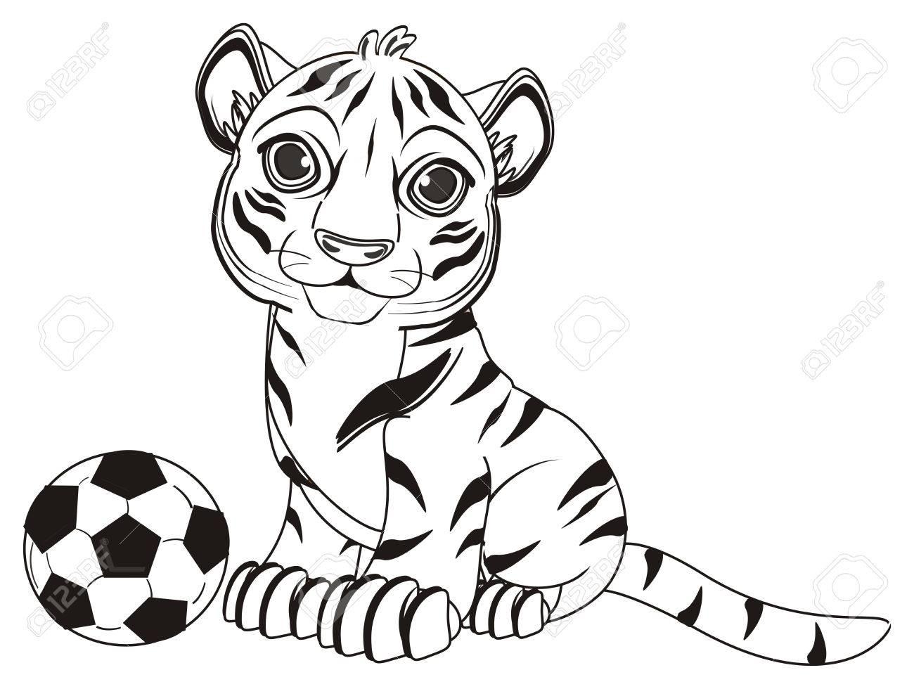 Colorear Tigre Sentarse Con Un Balón De Fútbol