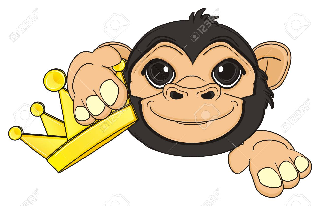 Head Of Monkey With Golden Crown Stock Photo