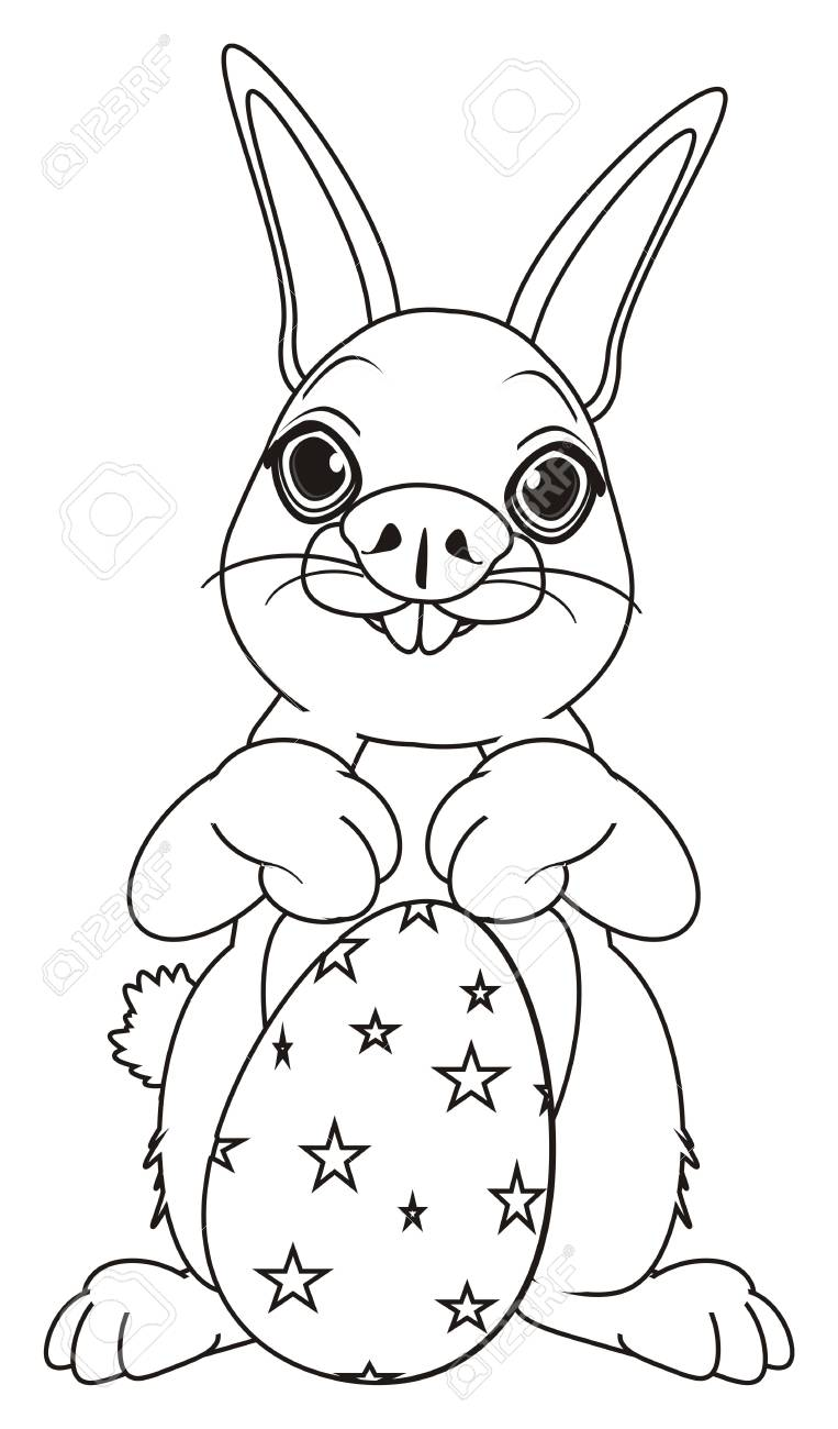 Coloring bunny stand with large easter egg stock photo 72880890