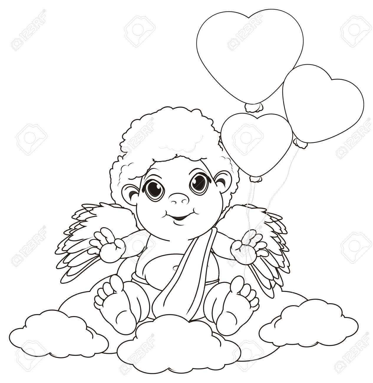Colorear Cupido Sentarse En Las Nubes Y Sostener Muchos Globos Aerostáticos
