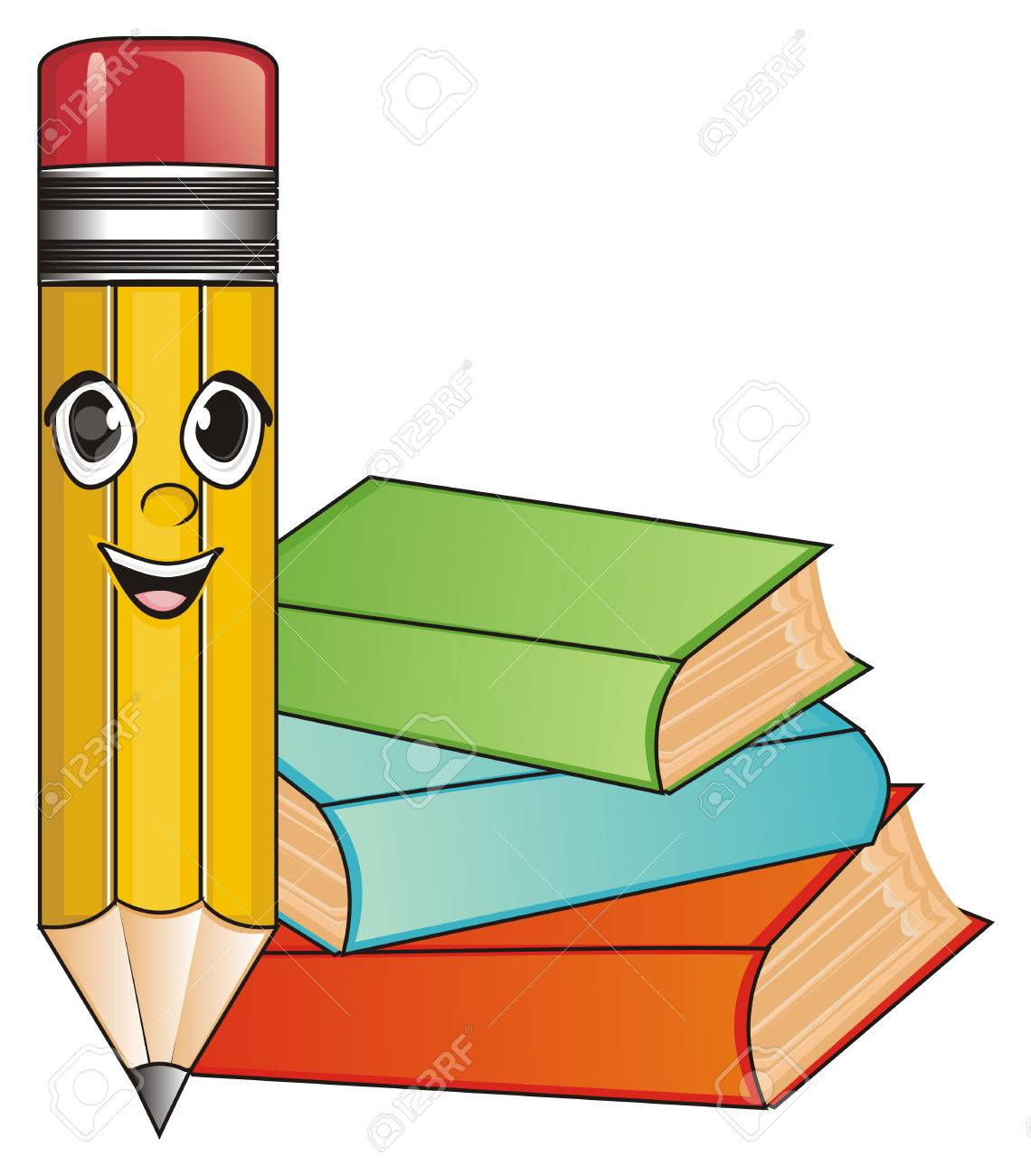 Happy Face Of Pencil With Three Colored Books Stock Photo, Picture ...