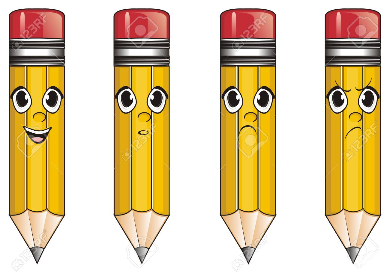 Faces of pencils with different emotions stock photo 76194125