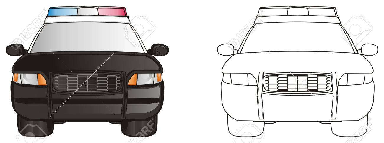 Coche De Policía Coloreado Con Carro Policía De Color