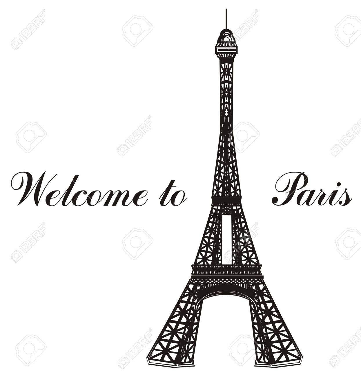 Black and white eiffel tower with words welcome to paris stock photo 77737533