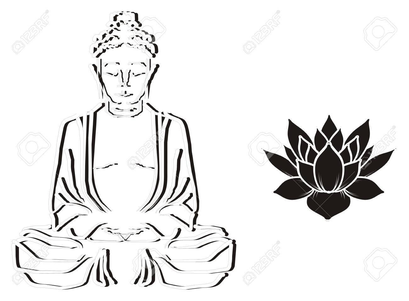 Black and white buddha with lotus stock photo 77737674