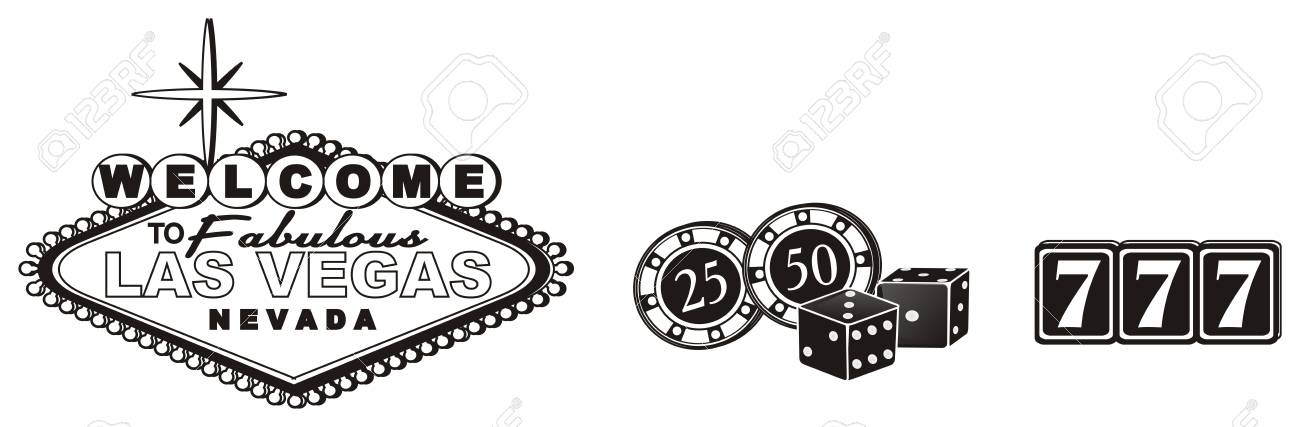Black And White Banner Las Vegas With Three Black Symbols Of Stock