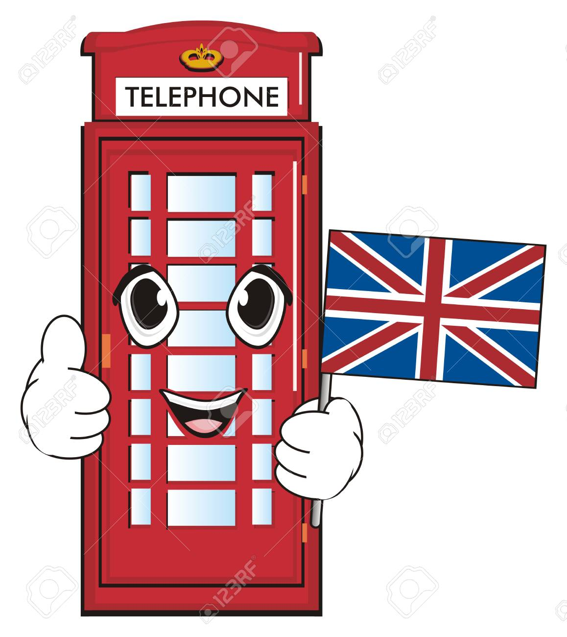 happy face of red telephone booth hold uk flag and show gesture rh 123rf com free united kingdom flag clip art