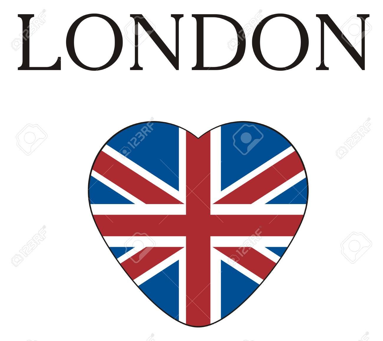 Palabra Negra Londres Con Corazón Con Bandera Del Reino Unido Fotos ...