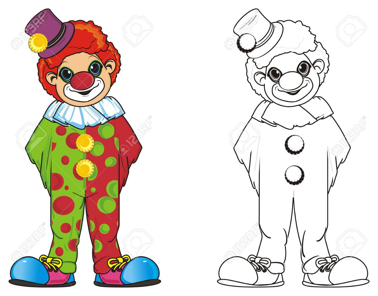 Colored Clown Stadn With Coloring Clown Stock Photo, Picture And ...