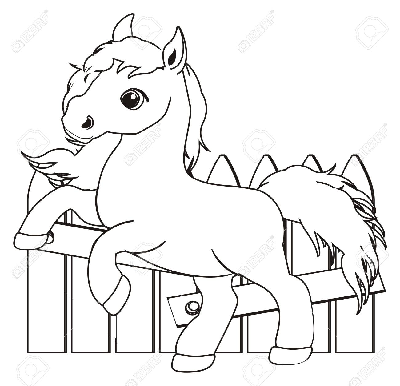 Coloring Horse And Fence Stock Photo, Picture And Royalty Free Image ...