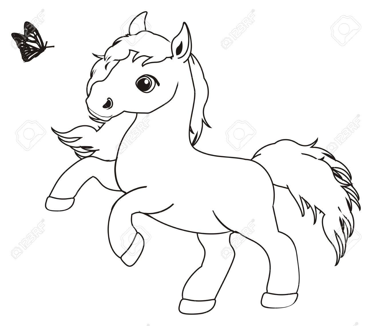 Coloring Horse With Butterfly Stock Photo, Picture And Royalty Free ...