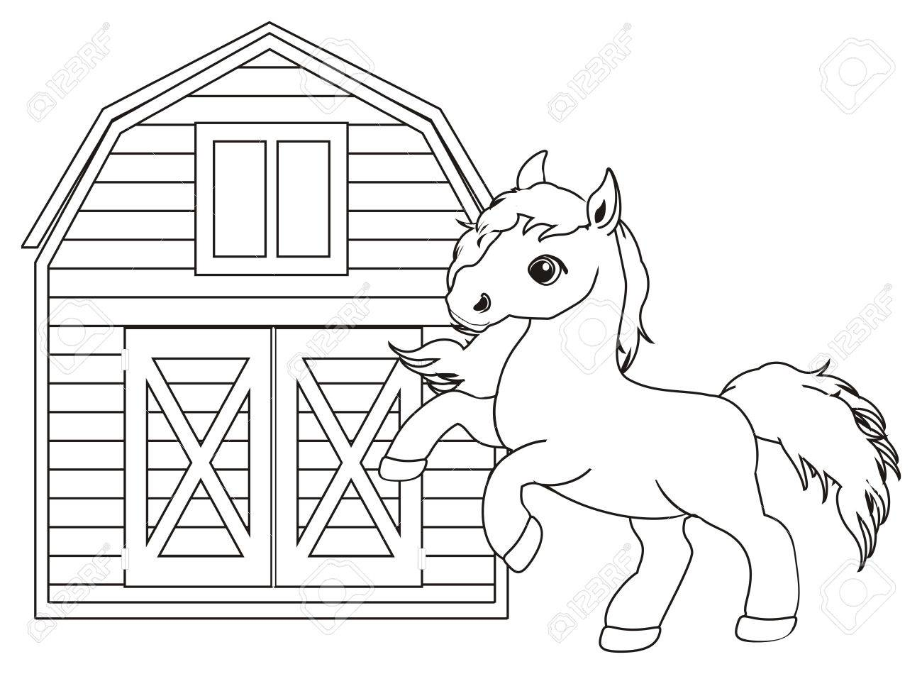 Coloring Horse And Stall Stock Photo, Picture And Royalty Free Image ...