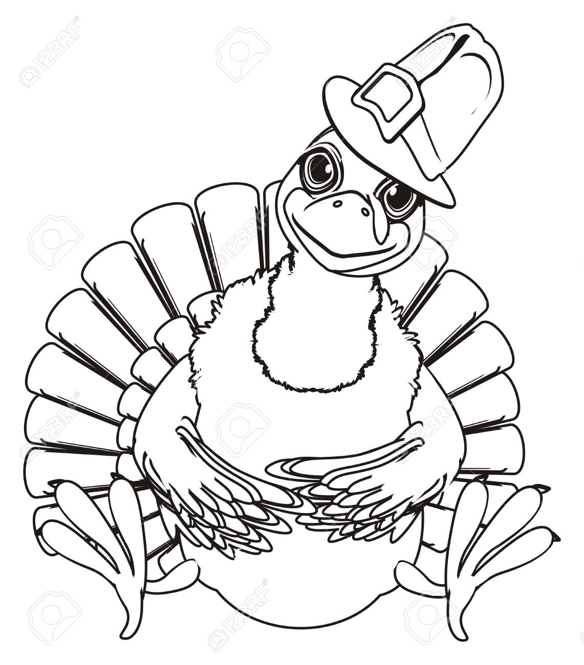 Turkey Coloring Picture Of Hat - Worksheet & Coloring Pages