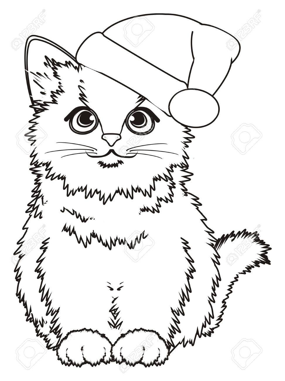 Coloring cat in christmas hat sit
