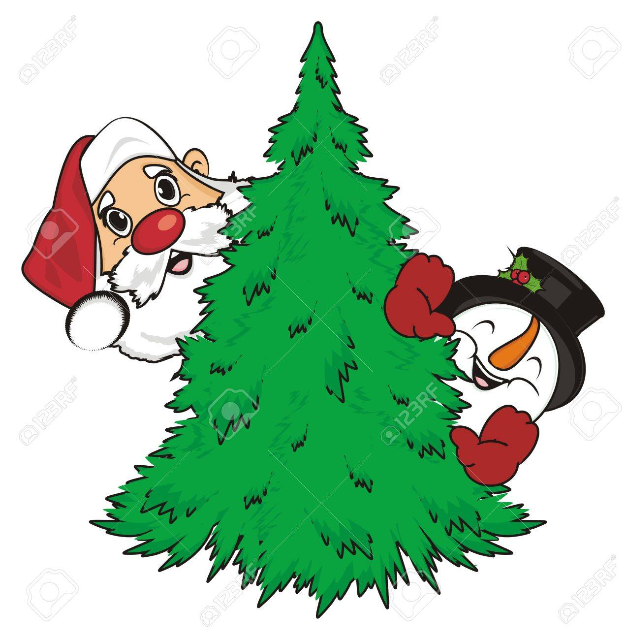 Heads Of Santa Claus And Snowman Peek Up From Christmas Tree Stock Photo Picture And Royalty Free Image Image 82430818