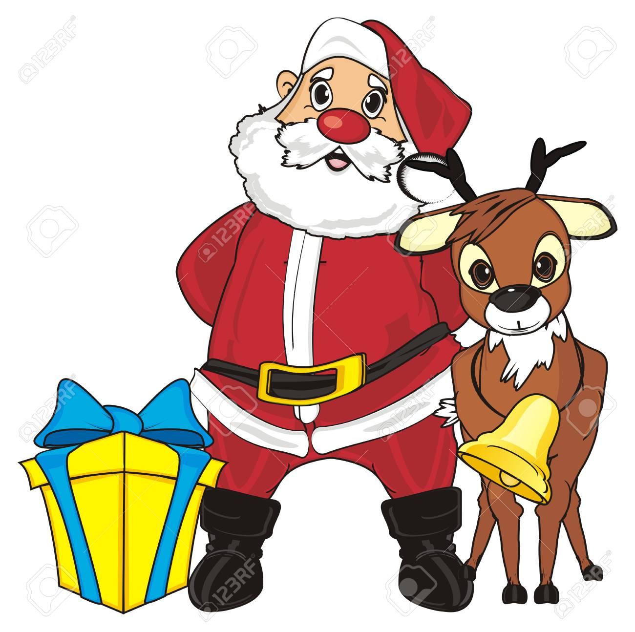 Herten Staan Met Kerstman En Cadeau