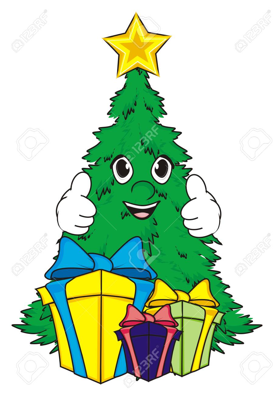 Smiling Christmas Tree With Gifts Stand And Show Gesture Class Stock ...