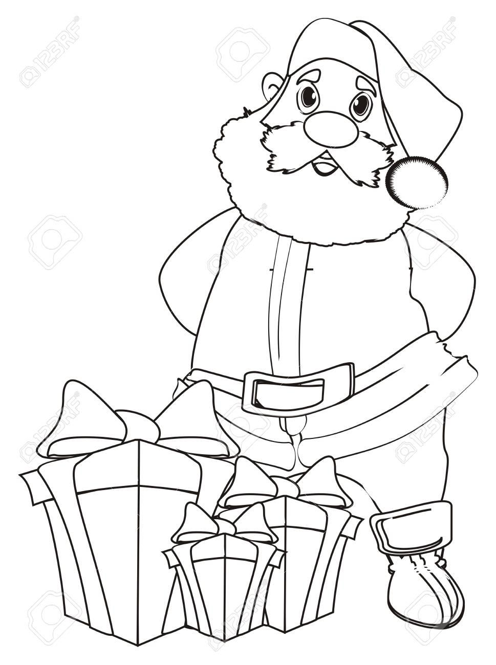 Colorier Père Noël Avec Cadeaux