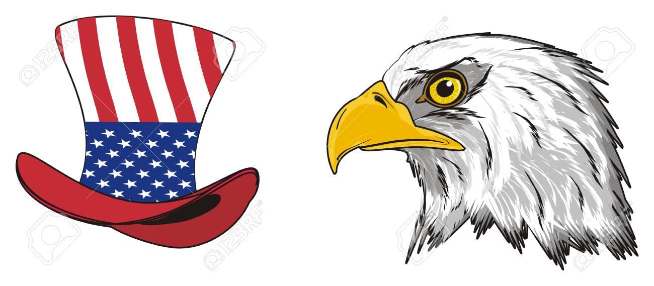 Cabeza De águila Con Sombrero Y Bandera De Estados Unidos En Ella ...