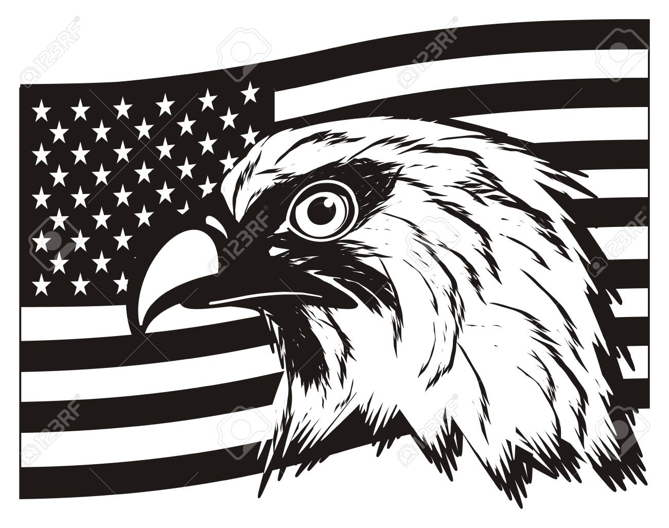 Black and white usa flag with head of eagle stock photo 83961946