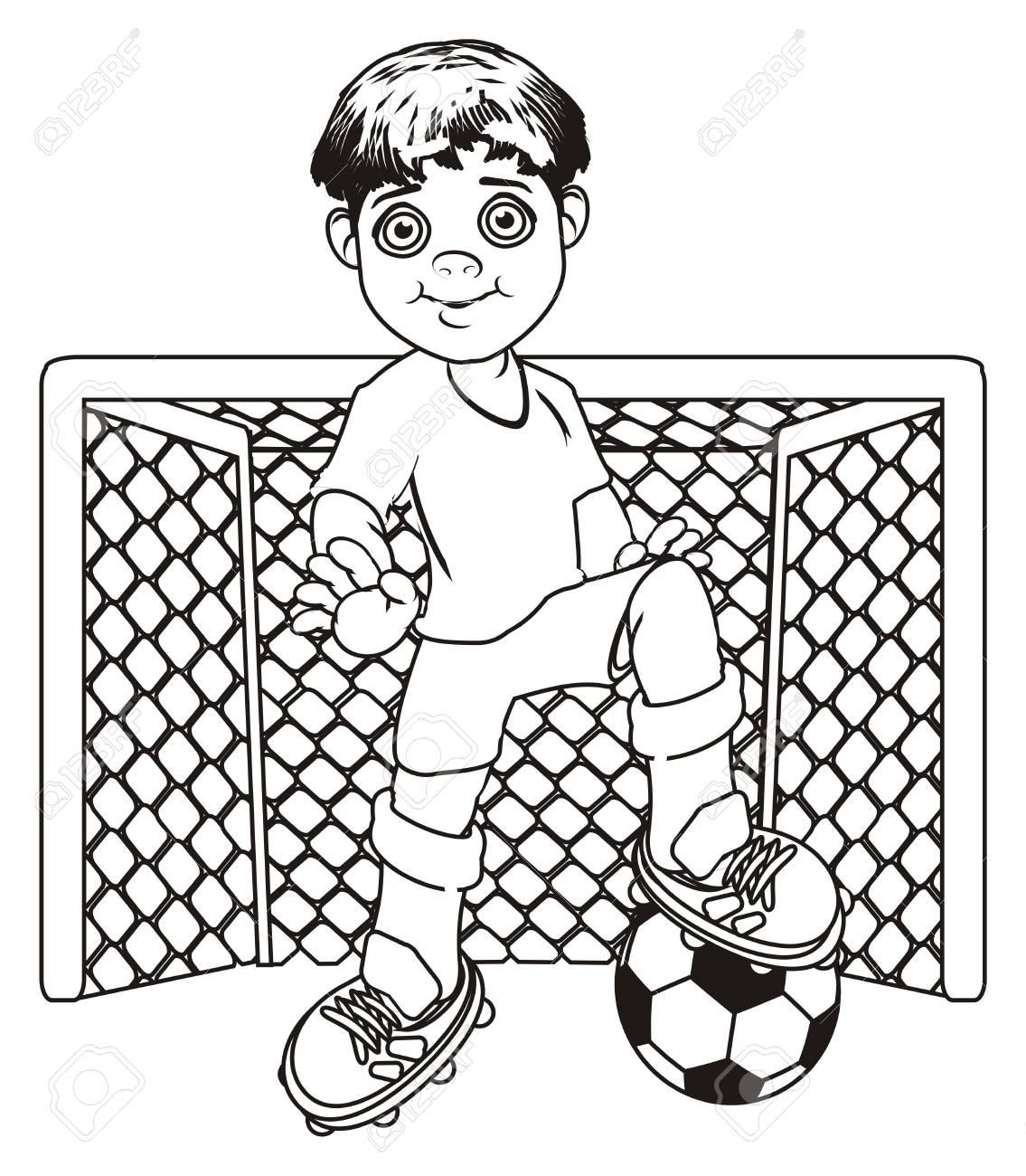Colorear Jugador De Fútbol Con Pelota Y Puerta Vacía