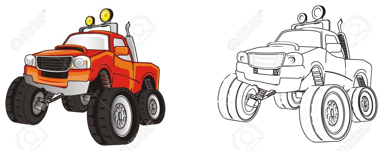 Camión Colgado Mosnter Con Carro Monstruo Para Colorear Fotos ...