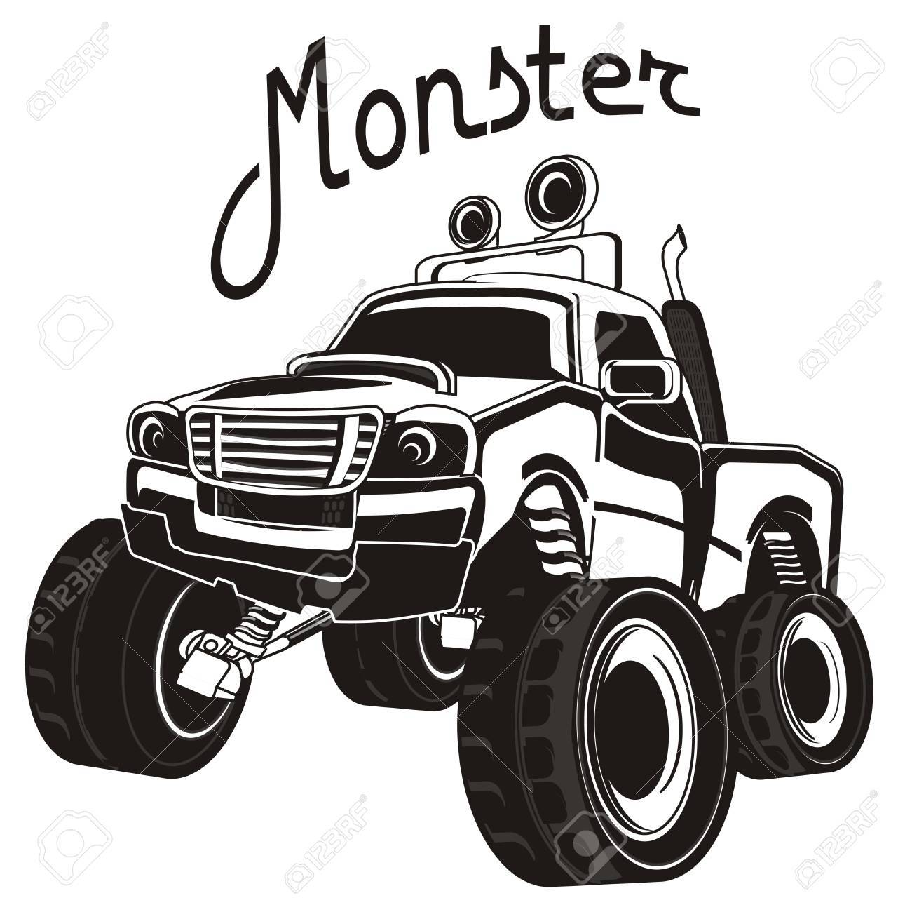 Black And White Monster Truck And His Name Stock Photo Picture And Royalty Free Image Image 86755355