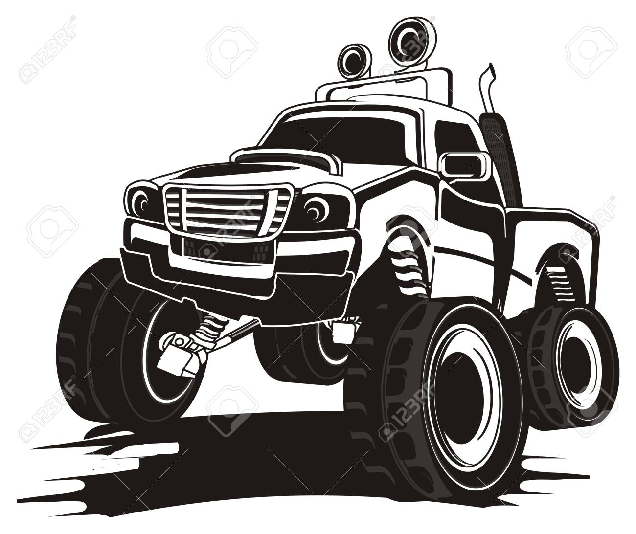Black And White Monster Truck On The Dirt Stock Photo Picture And Royalty Free Image Image 86755365